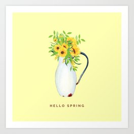 Hello Spring II (Sunflowers in Vintage Vase) Art Print