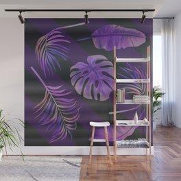 Purple palm leaves Wall Mural