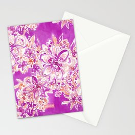 GOOD VIBES Wild Pink Watercolor Floral Stationery Cards