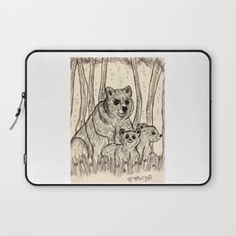 Mama Bear and Her Cute Cubs Laptop Sleeve