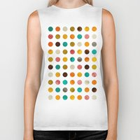 polka dot Biker Tanks featuring Autumnal polka dot by cafelab