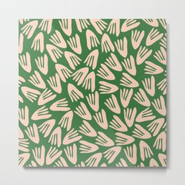 Papier Découpé Modern Abstract Cutout Pattern in Pale Blush Pink and Green Metal Print
