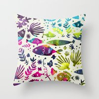 under the sea Throw Pillows featuring Under The Sea by 83 Oranges™