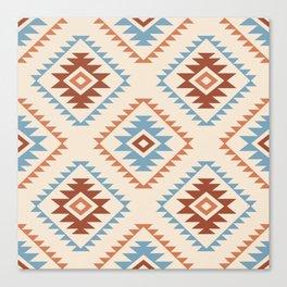Aztec Style Motif Pattern Blue Cream Terracottas Canvas Print