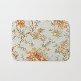 Blue Orange Flower Leaf Bath Mat