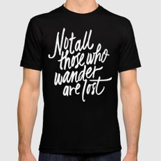 Not all those who wander SMALL Black Mens Fitted Tee