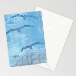 Free sea gull blue mixed media art Stationery Cards