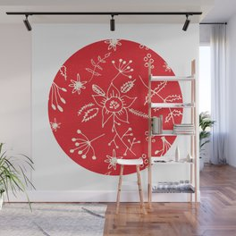 Winter Floral Red Wall Mural