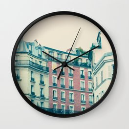 Paris Pink Facades Wall Clock