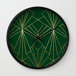 Art Deco in Gold & Green - Large Scale Wall Clock