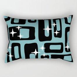 Retro Mid Century Modern Abstract Pattern 677 Black Turquoise Rectangular Pillow