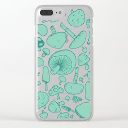 Fungi V2 Vintage Mushroom Pattern Clear iPhone Case