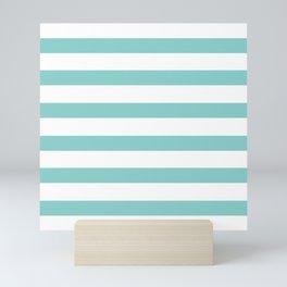 Seafoam Blue Stripes on White Mini Art Print