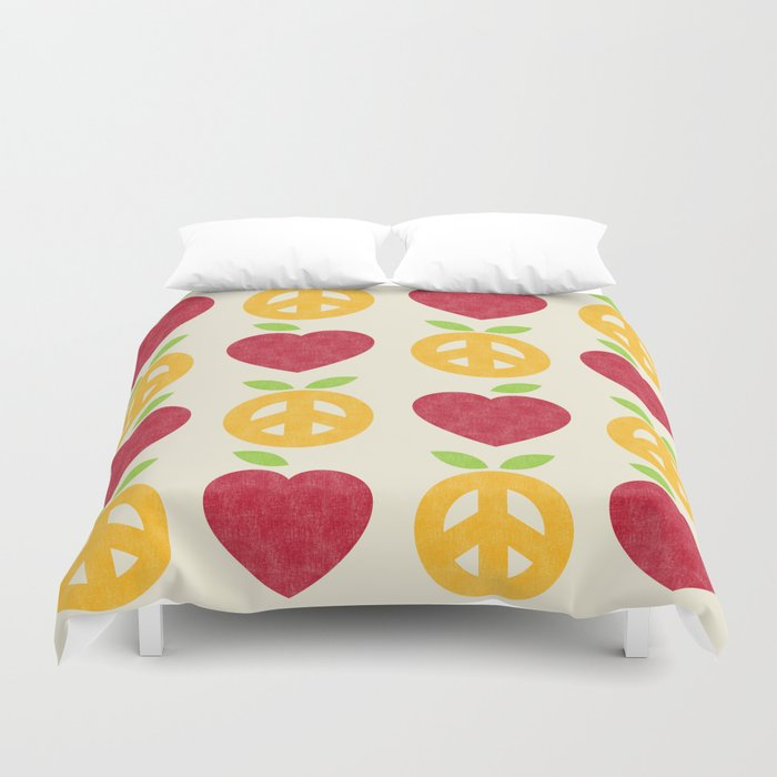 Apple and Orange - Love and Peace Duvet Cover