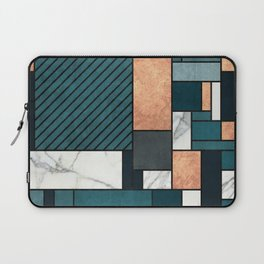 Random Pattern - Copper, Marble, and Blue Concrete Laptop Sleeve