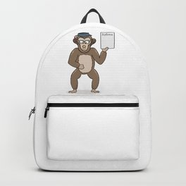 clever monkey with diploma Backpack