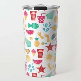 Summer time pattern with colorful beach elements Travel Mug