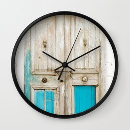Old wooden door with turquoise paint residue Wall Clock