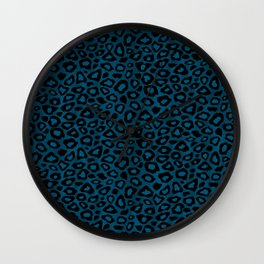Teal Leopard Animal Pattern Wall Clock
