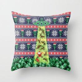 Christmas aliens Throw Pillow