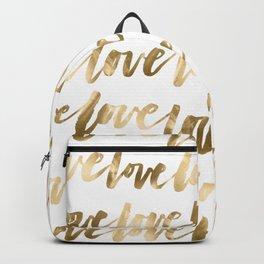 Gold Love Script Backpack