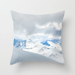 Switzerland snow mountain peaks with a winter landscape Throw Pillow