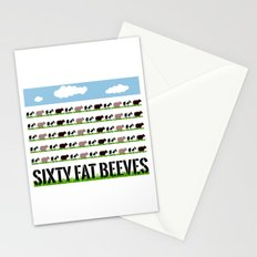60 Fat Beeves - Cow Cartoon by WIPjenni Stationery Cards
