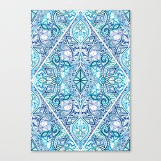Blue and Teal Diamond Doodle Pattern Canvas Print
