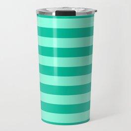 Teal and Aqua Mint Stripes Travel Mug