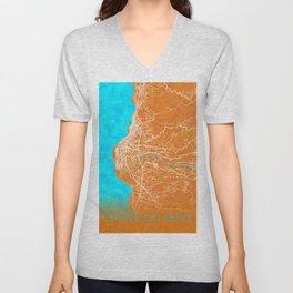 Reggio Calabria, Italy, Gold, Blue, City, Map Unisex V-Neck