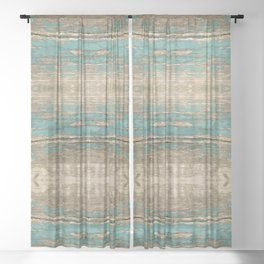 Rustic Wood - Beautiful Weathered Wooden Plank - knotty wood weathered turquoise paint Sheer Curtain