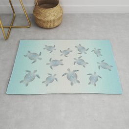 Silver Sea Turtles Rug