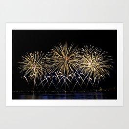 Firework flowers at Cannes, France Art Print