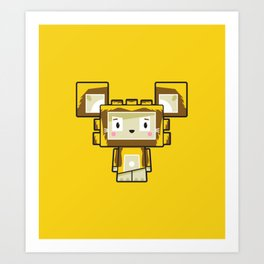 Cute Cartoon Blockimals Lion Art Print