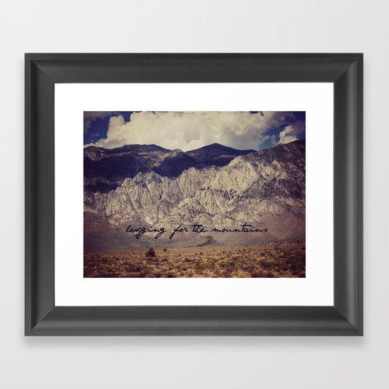 longing for the mountains Framed Art Print