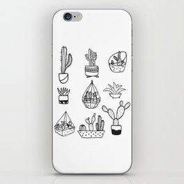 Minimalist Cacti Collection Black and White iPhone Skin
