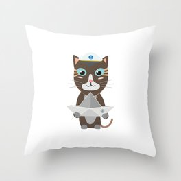 Captain cat with paper ship   Throw Pillow