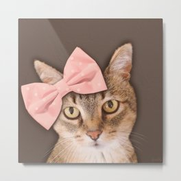Brown Tabby Cat with Soft Pink Bow Metal Print