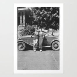 Male and Female with Automobile Art Print
