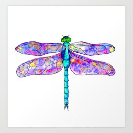 Neon colors rainbow dragonfly Art Print