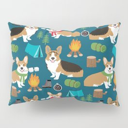 Corgi camping marshmallow roasting corgis outdoors nature dog lovers Pillow Sham