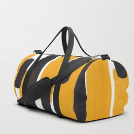 Mid Century Abstract Black & Yellow Fun Pattern Mustard Striped Primitive Stripes Duffle Bag