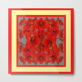 YELLOW COLOR RED AMARYLLIS FLOWER GARDEN  FLOWERS Metal Print