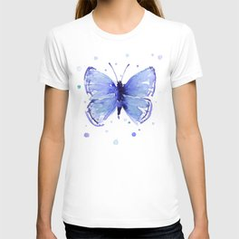 Dark Blue Butterfly Watercolor T-shirt