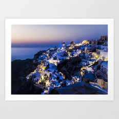 Santorini Island NightView Greece Art Print