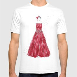 Fashion illustration red long gown T-shirt
