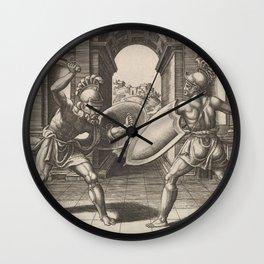 Vintage Gladiator Sword Fight Illustration (1560) Wall Clock