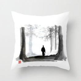 samurai back home Throw Pillow
