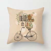 tea Throw Pillows featuring Pleasant Balance by florever