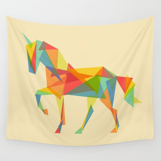 Fractal Geometric Unicorn Wall Tapestry